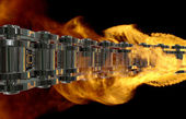 Motorcycle chain in flame — Stock Photo