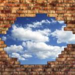 Brick wall with sky — Stock Photo