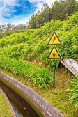 Attention singn at the water supply, Madeira — Stock Photo