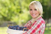 Blonde Young Woman with Basket of Plums — Stock Photo