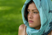 Beautiful Woman Wearing a Scarf on Her Head — Stock Photo