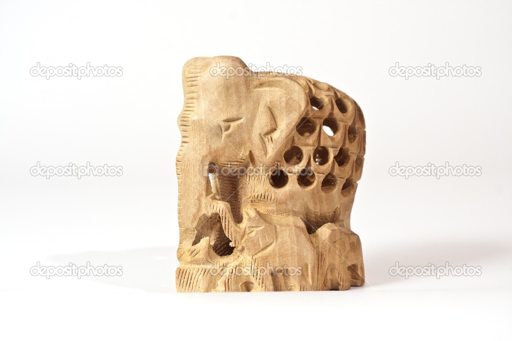 Handicraft wood  carving from India isolated — Stock Photo #14824427