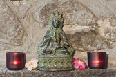 仏教 goddesstara 文珠を表す青銅色の彫像 — ストック写真