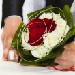 Stock Photo: Wedding red and white roses bouquet flower
