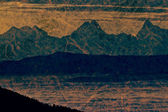 Panoramic mountain view in paper sheet painting — Stock Photo