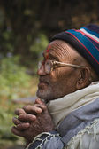 Old man, nepali face, tharu culture, west Nepal — Stock Photo