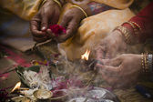 Detail of Hindu ceremony (Puja) in Teraï, west part of Nepal — Stock Photo