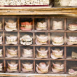Second hand dentures in dentist windows shop — Stock Photo
