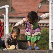 Unidentified nepali girl and boy children in Kathamandu, Nepal — Stock Photo