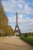 Eiffel tower from Champ de Mars after sunrise — Stock Photo