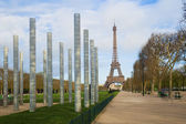 Eiffel Tower and Columns of Wall of Peace, Champ de Mars, Paris — Stock Photo