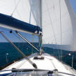 Sailing yacht on back wind on blue sea and blue sky — Stock Photo