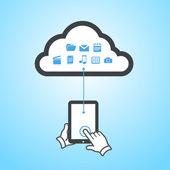 Tablet cloud computing scheme — Vector de stock