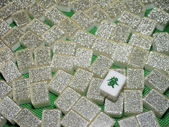 Wealth - Mahjong tiles top down — Zdjęcie stockowe