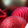 Box of Christmas ornaments closeup — Stock Photo