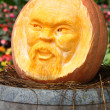 Pumpkin face carving — Stock Photo