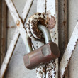 Padlock on an old gate — Stock Photo