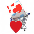 Valentine's day gift shopping concept isolated on white — Stock Photo