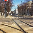 Tramway rails in Vienna Austria — Stock Photo
