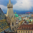 Stock Photo: Aerial view of Viennfrom Stephandom's north tower