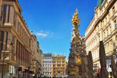 Plague column and Graben street in Vienna — Stock Photo