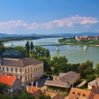 Stock Photo: View of Esztergom in Hungary and Sturovo in Slovakiwith MariValeriBridge between.