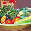 Stock Photo: Plate of fresh garden vegetables