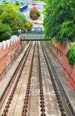 Rails of the famous funicular in Budapest — Stock Photo