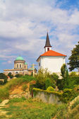 View of a the Saint Thomas chapel and Esztergom Basilica from a hill,Hungary — Stock Photo