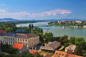 View of an Esztergom in Hungary and Sturovo in Slovakia with Maria Valeria Bridge between. — Stock Photo