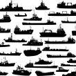 Stock Vector: Set of 32 (thirty two) silhouettes of sea yachts, towboat and the ships