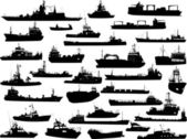 Set of 32 (thirty two) silhouettes of sea yachts, towboat and the ships — 图库矢量图片