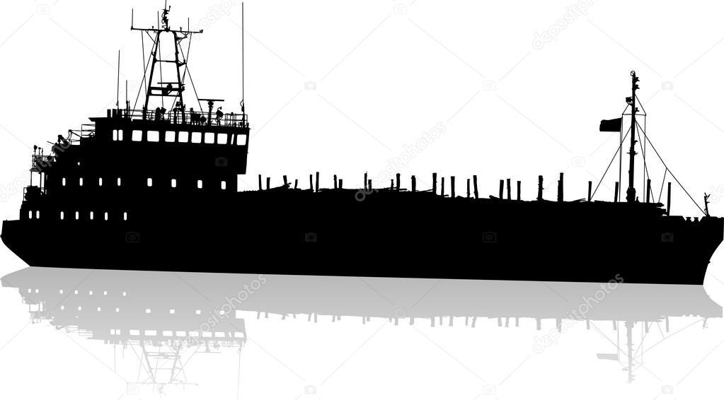 Tanker Ship Silhouette Stock Vector Posscriptum 19912417