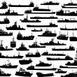 Set of 44 silhouettes of sea ships — Vector de stock