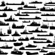 ensemble de 44 silhouettes de navires de mer — Vecteur