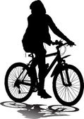 Vector silhouette of the cyclist — Vector de stock