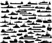 Vector set of 55 silhouettes of sea towboat and the ships — Stock Vector