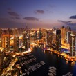 A view of Dubai Marina, at Dusk, also showing JBH — Stock Photo #13728539