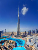 A skyline of Downtown Dubai with the Burj Khalifa and Dubai Mall — Foto de Stock