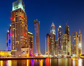 Dubai Marina, Dubai, UAE at Dusk — Stock Photo