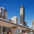 Stock Photo: Tall towers and new metro line of Sheik Zayed Road