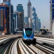 The Dubai Metro runs sum 40 km along Sheikh Zayed Road - Stock Photo