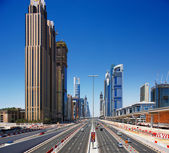 Sheikh Zayed Road is graced with skyscrapers on both sides of the road — Stock Photo