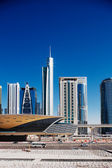 Jumeirah Lakes Towers is a rapidly expanding district of Dubai and is graced by many beautiful architectural towers and a new metro station — Stock Photo