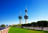 These beautiful architectural structures are icons of the Kuwait City skyline — Stock Photo