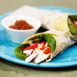 Healthy chicken salad wrap with red bell pepper — Stock Photo