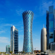 The hyperbolic tower of the West Bay district of Doha, Qatar — ストック写真