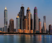Dubai Marina skyline as seen from Palm Jumeirah, UAE — Stock Photo