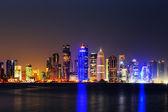 Doha, Qatar at Dusk is a beautiful city skyline — Stock Photo