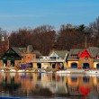 Stock Photo: Famed Philadelphias boathouse row in Fairmount Dam Fishway